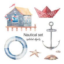 Nautical Set: Paper Boat, Sea Starfish, Anchor, House On Water, Stones. Isolated Illustrations On White Background
