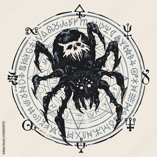 Photo Decorative illustration with a big black spider on the background of a circle with a star and unreadable scribbles