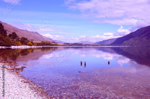 Photo Wakatipu, New Zealand. Vintage filtered colors style.