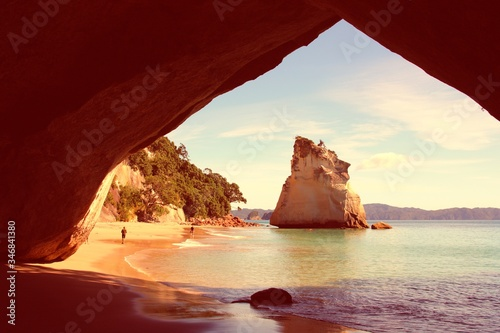 Photo New Zealand - Cathedral Cove. Vintage filtered colors style.