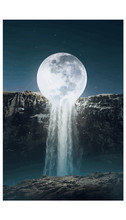 Waterfall Under The Moon