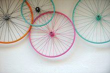 Old Bicycle Wheels Colorful On...
