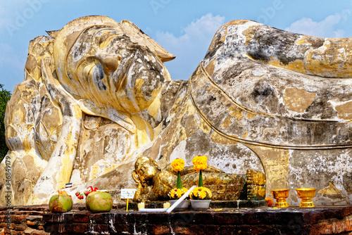 Photo Reclining Buddha at Wat Lokayasutharam Temple in Ayuthaya - Thailand
