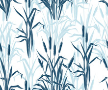 .Various Compositions Of Bulrushes On A White Background. Hand Drawn Monochrome Seamless Pattern. Vector Vintage Illustration Of Reeds.