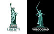 USA, poster Statue of Liberty. Motherland calling. Green geometric drawing. Symbol of America. Design. Vector illustration, white, black background. The symbol of Volgograd. Use presentations, emblems