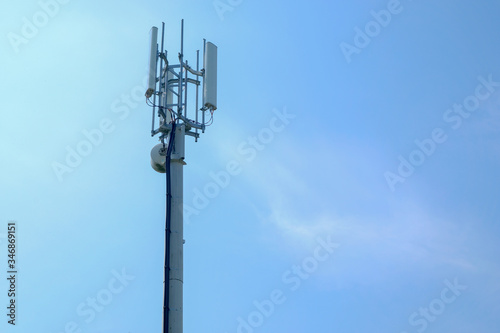 Mobile wireless communications antenna and aerials for 4G and 5G radio mast tran Fototapeta