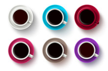 Coffee Cup Vector Set. Coffee Cups With Saucers In 3D Realistic Various Colors In Top View White Background. Vector Illustration.
