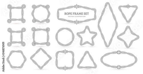 Fotografie, Obraz Nautical ropes vector creative outline borders set
