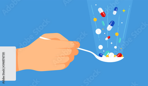 The doctor offers pills for treatment: a tablespoon in hand, various pills and drops fall into a spoon Tapéta, Fotótapéta