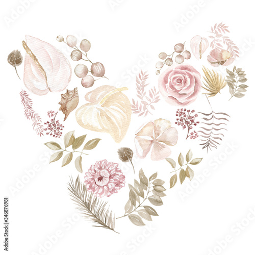 Fotografia, Obraz illustration leaves and flowers pale in the form of a heart