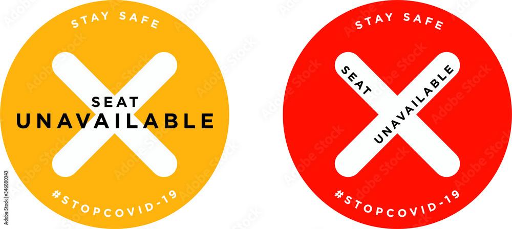 Fototapeta Seat unavailable signage icon