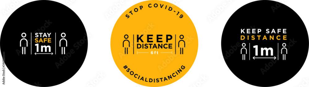 Fototapeta Keep distance signage icon