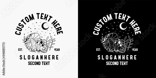 Fotografija monoline mushroom logo design