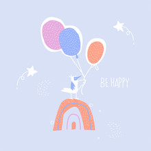 Be Happy. A Cute Little Bird On A Rainbow Holds Balloons. Delicate Blue Sky And Morning Stars. Hand-drawn Greeting Card Template.