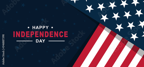 Happy Independence Day of United States of America 4th of July with American Flag vector illustration background