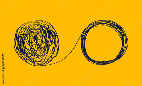 Photo concept icon showing the unraveling of a tangled line