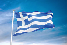 Greece Flag Waving Sky Background 3D Illustration