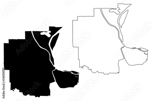 Phnom Penh City (Kingdom of Cambodia, Kampuchea) map vector illustration, scribble sketch City of Krong Chaktomuk Serimongkul map