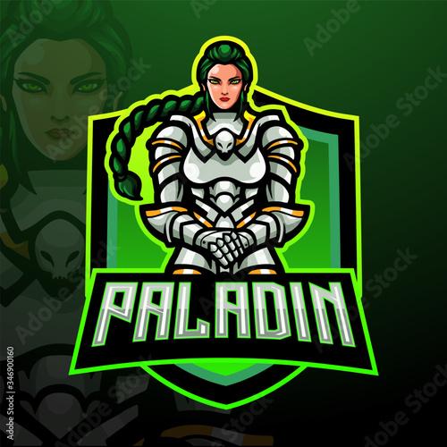 Cuadros en Lienzo Paladin female esport logo mascot design