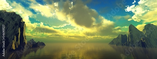 Obraz Sea sunset over the passage to the bay among the rocks, sunrise in the lagoon of rocks, 3D rendering - fototapety do salonu