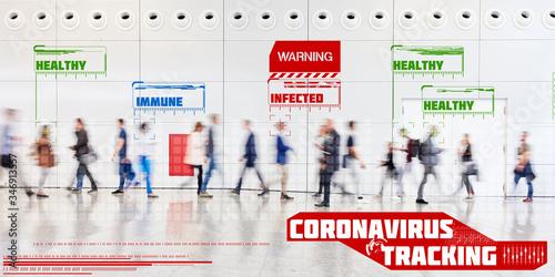 Cuadros en Lienzo Coronavirus Tracking App mit Überwachung von Kontaktpersonen