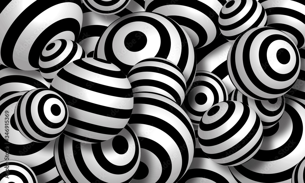 Top view black swirl pattern balls background. 3d rendering picture.