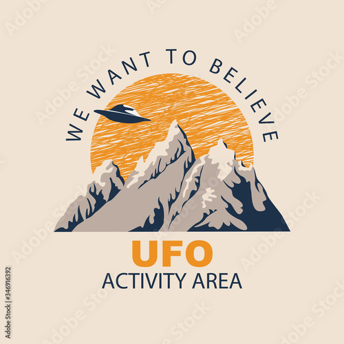 Vector banner on the theme of alien invasion with the words We want to believe, UFO activity area Wallpaper Mural