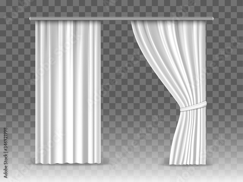 Vector white curtains isolated on transparent background Wallpaper Mural