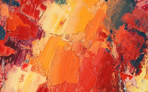 Hand drawn oil painting on canvas. Abstract art background. Color texture. Fragment of artwork. Brushstrokes and spots of paint. Modern, contemporary art. Colorful canvas.