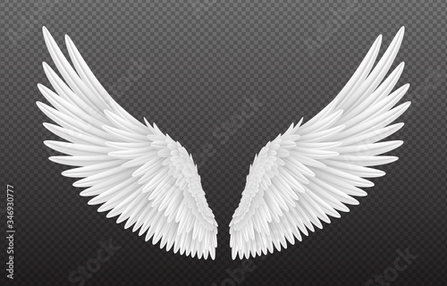 Pair of beautiful white angel wings isolated on transparent background, 3D realistic vector illustration Fototapeta