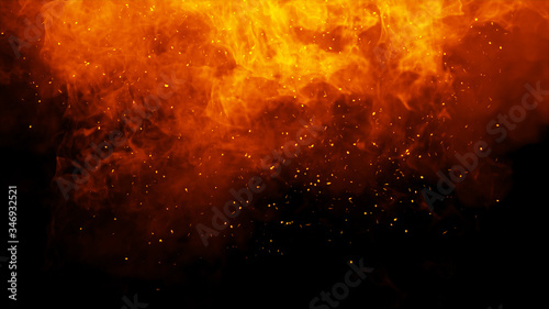 Fotografija Realistic isolated fire effect for decoration and covering on black background