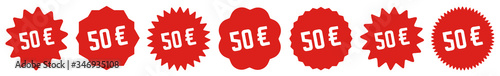 Fotografía 50 Price Tag Red | 50 Euro | Special Offer Icon | Sale Sticker | Deal Label | Va