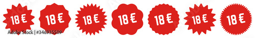 18 Price Tag Red | 18 Euro | Special Offer Icon | Sale Sticker | Deal Label | Va Wallpaper Mural
