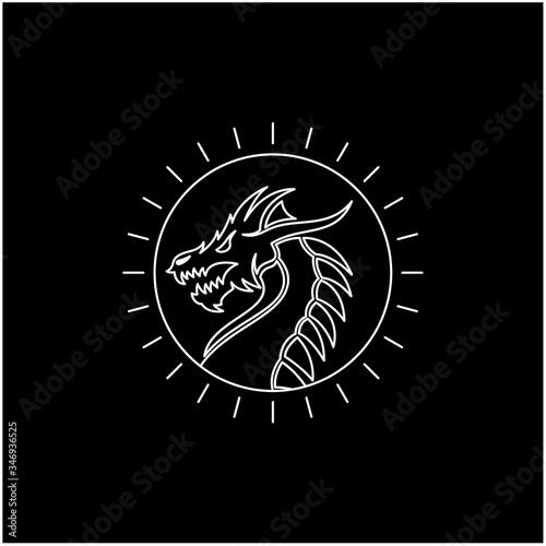 Line art Sunlight with Chinese dragon snake Monster Medallion Emblem Label Logo Wallpaper Mural