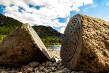 Millennium Stone, Calfclose Bay, Derwent Water Lake District, Cumbria.