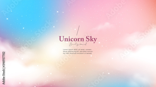 Fotografie, Obraz Background abstract unicorn galaxy light with star and cloud