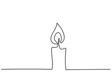 Burning Fire Candle Continuous One Line Drawing
