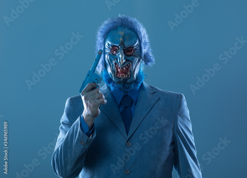 portrait of a strange man in a scary blue mask Slika na platnu