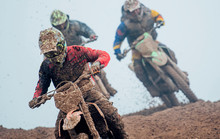 Motocross Drivers During Motocross Race