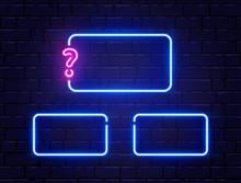 Quiz Neon Banner Set. Glowing ...