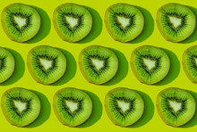 Kiwi Fruit Pattern On Green Ba...