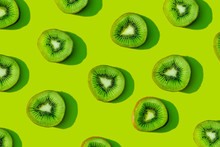 Kiwi Fruit Pattern On Green Ba...