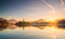 Slovenia,?Bled, Lake Bled At S...