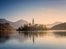 Slovenia, Bled, Lake Bled At Dawn With Assumption Of Mary Church?in Background