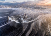 Iceland, Ice Chunk Lying At Sh...