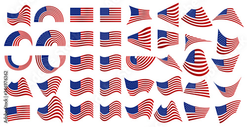 Photo A very useful set of various American flags, a perfect add-on component to your