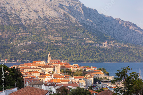 Obraz na plátně Korcula island with the cathedral, the city and the port on a sunny day during sunset in summer