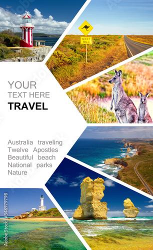 Photo collage of Australia. Great Ocean Road. Twelve Apostles. Travel © Alvov