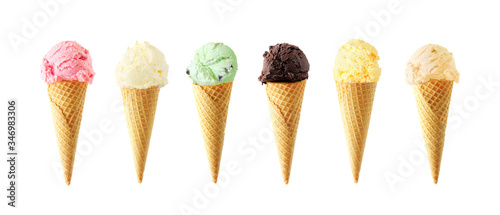 Fototapeta Large assortment of ice cream cones. Various flavors isolated on a white background obraz
