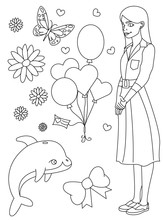 Coloring Book Page. Doodle Outline Vector Illustration Of Fashion Girl With A Lot Of Elements.  Cute  Coloring Doodle. Black And White Line Art.  Coloring Page For Children.  Girls Coloring Pages.